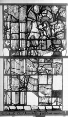 Ensemble archiépiscopal - Vitrail, Chapelle Jeanne d'Arc, la Vierge et l'Enfant, saint jean, baie 36, treizième panneau, en haut