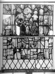 Ensemble archiépiscopal - Vitrail, Chapelle Jeanne d'Arc, la Vierge et l'Enfant, saint jean, baie 36, quatorzième panneau, en haut