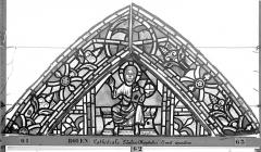 Ensemble archiépiscopal - Vitrail, déambulatoire au nord, saint Julien l'Hospitalier, premier panneau, en haut