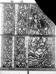 Ensemble archiépiscopal - Vitrail, déambulatoire au nord, saint Julien l'Hospitalier, deuxième panneau, en haut