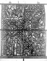 Ensemble archiépiscopal - Vitrail, déambulatoire au nord, saint Julien l'Hospitalier, troisième panneau, en haut