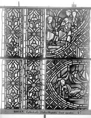 Ensemble archiépiscopal - Vitrail, déambulatoire au nord, saint Julien l'Hospitalier, sixième panneau, en haut