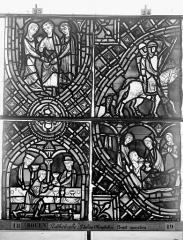 Ensemble archiépiscopal - Vitrail, déambulatoire au nord, saint Julien l'Hospitalier, neuvième panneau, en haut