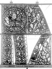 Ensemble archiépiscopal - Vitrail, déambulatoire au nord, saint Julien l'Hospitalier, bordures et panneau
