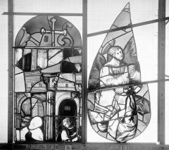 Ancienne église Saint-Eloi - Vitrail, fenêtre 2, tympan de gauche et partie supérieure de la lancette droite