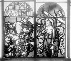 Ancienne église Saint-Eloi - Vitrail, fenêtre 2, partie supérieure de la lancette droite et de la médiane