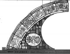 Eglise Saint-Patrice - Vitrail, fenêtre au fond du choeur, la Crucifixion, lancette de droite, premier panneau
