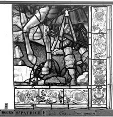 Eglise Saint-Patrice - Vitrail, fenêtre au fond du choeur, la Crucifixion, lancette de droite, cinquième panneau