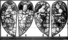 Eglise Saint-Nicaise - Vitrail, fenêtre 4, bas-côté nord, écoinçons du tympan