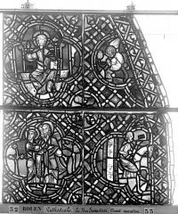 Ensemble archiépiscopal - Vitrail, déambulatoire, baie 52, le Bon Samaritain, troisième panneau, en haut