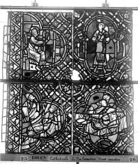 Ensemble archiépiscopal - Vitrail, déambulatoire, baie 52, le Bon Samaritain, quatrième panneau, en haut