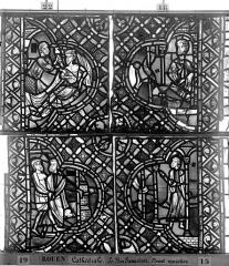 Ensemble archiépiscopal - Vitrail, déambulatoire, baie 52, le Bon Samaritain, cinquième panneau, en haut