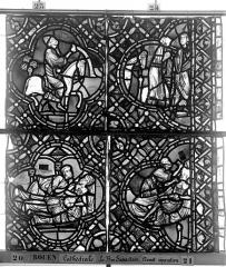 Ensemble archiépiscopal - Vitrail, déambulatoire, baie 52, le Bon Samaritain, sixième panneau, en haut