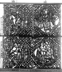 Ensemble archiépiscopal - Vitrail, déambulatoire, baie 52, le Bon Samaritain, septième panneau, en haut