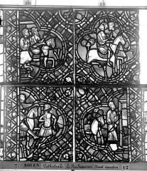 Ensemble archiépiscopal - Vitrail, déambulatoire, baie 52, le Bon Samaritain, huitième panneau, en haut