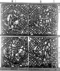 Ensemble archiépiscopal - Vitrail, déambulatoire, baie 52, le Bon Samaritain, dixième panneau, en haut