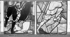Eglise Saint-Godard - Vitrail, baie 17, Vie de saint Romain, septième panneau, en haut