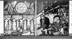 Eglise Saint-Godard - Vitrail, baie 17, Vie de saint Romain, dixième panneau, en haut