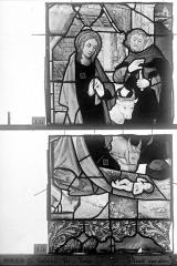 Eglise Saint-Godard - Vitrail, baie 16, Vie de la Vierge, premier panneau, en haut
