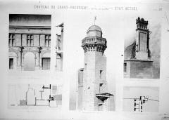 Château du Grand Pressigny - Plans et élévations (état actuel) : Façade et souche de cheminée du Château-Neuf, Tour de Vironne