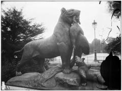 Palais du Louvre et jardin des Tuileries - Statue de la Tigresse portant un paon à ses petits, famille de tigre, groupe sculpé